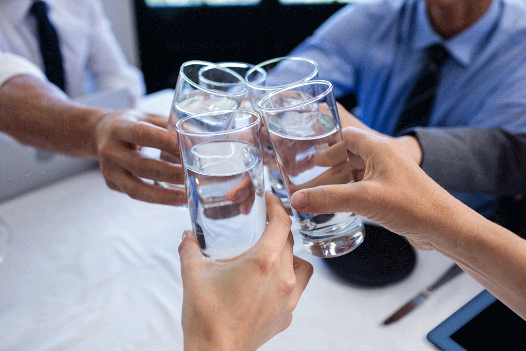 glasses of water grouped together